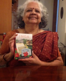 Author and playwright Poile Sengupta, with her latest novel, Inga